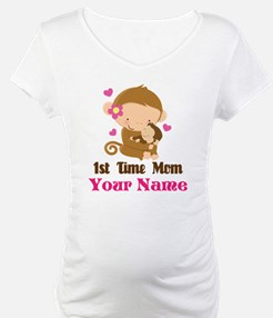 Personalized 1st Time Mom Monkey Shirt