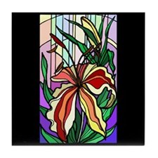 Stained Glass Lily Tile Coaster