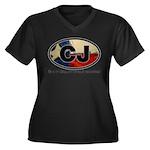 CJ THING Women's Plus Size V-Neck Dark T-Shirt