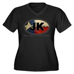 JK THING Women's Plus Size V-Neck Dark T-Shirt