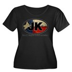 JK THING Women's Plus Size Scoop Neck Dark T-Shirt