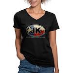 JK THING Women's V-Neck Dark T-Shirt