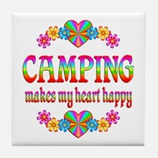 Camping Happy Tile Coaster