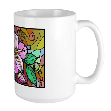 Stained Glass Clemantis Large Mug