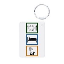 Eat Sleep Pray Aluminum Photo Keychain