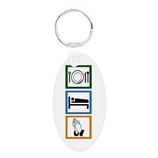 Eat Sleep Pray Aluminum Oval Keychain