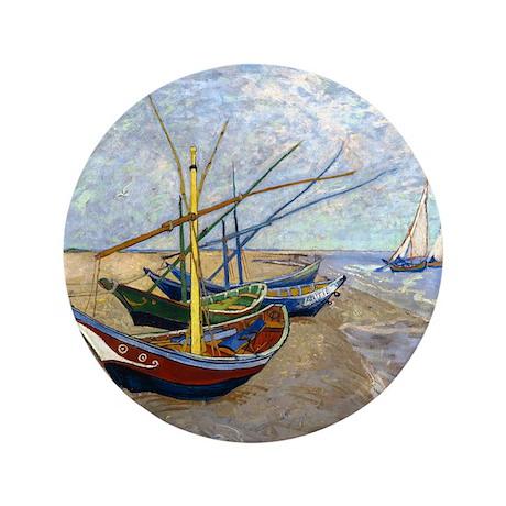 "Van Gogh Fishing Boats 3.5"" Button"
