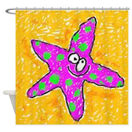Purple Starfish Shower Curtain