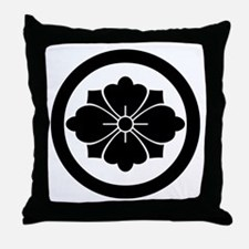 Rhombic chinese flower with swords in Throw Pillow