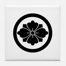 Rhombic chinese flower with swords in Tile Coaster
