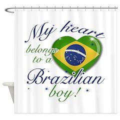 My heart belongs to a Brazilian boy Shower Curtain