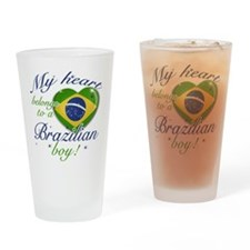 My heart belongs to a Brazilian boy Drinking Glass