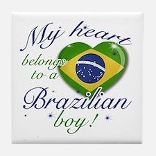 My heart belongs to a Brazilian boy Tile Coaster