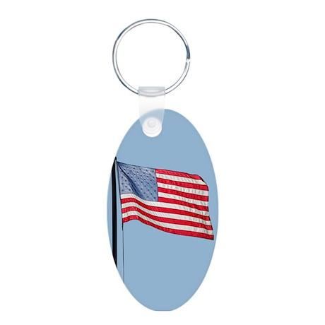 American flag #1743 - Aluminum Oval Keychain