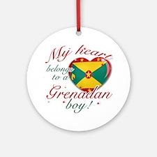 My heart belongs to a Grenadan boy Ornament (Round