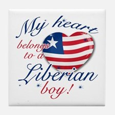 My heart belongs to a Liberian boy Tile Coaster