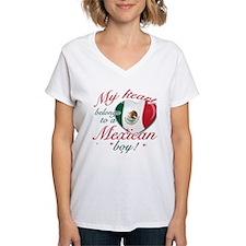 My heart belongs to a Mexican boy Women's V-Neck T
