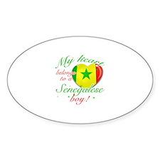 My heart belongs to a Senegalese boy Sticker (Oval