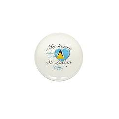My heart belongs to a St. Lucian boy Mini Button (