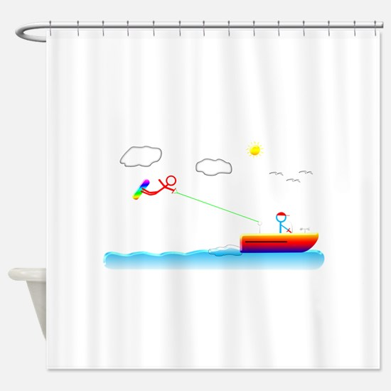 Stickman Picman Wakeboarding Shower Curtain