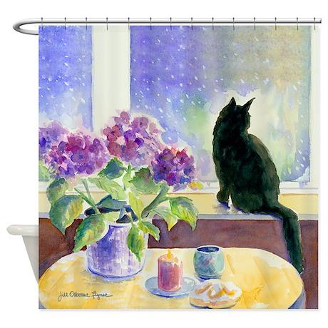 Black Cat Shower Curtain By JillFDesigns