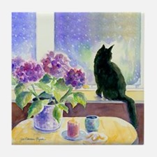 Black Cat Art Tile Coaster