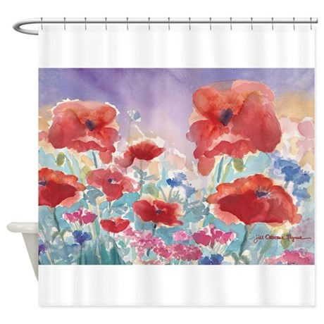Red Poppies Shower Curtain By JillFDesigns