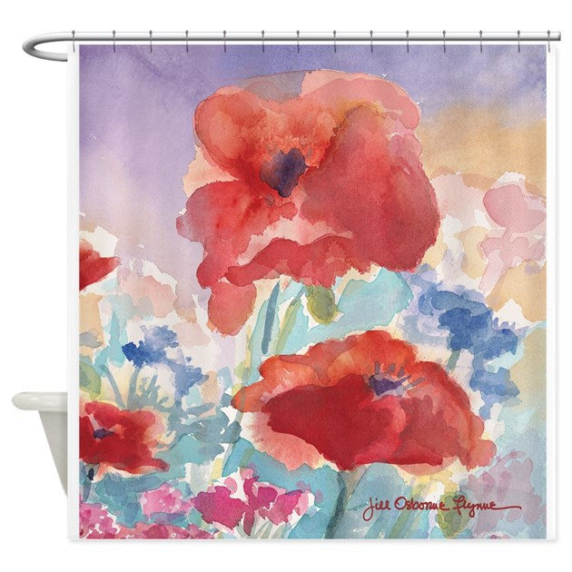 Red Poppies Shower Curtain 2 By Jillfdesigns