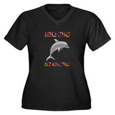 Awesome Dolphins Women's Plus Size V-Neck Dark T-S