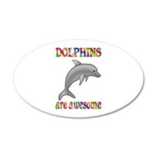 Awesome Dolphins 22x14 Oval Wall Peel