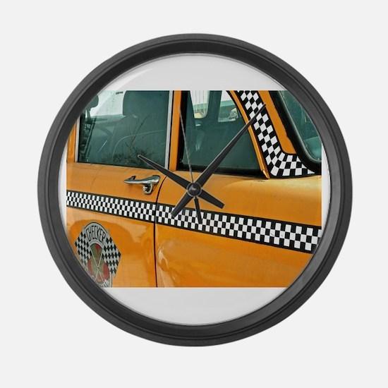 Checker Cab No. 3 Large Wall Clock
