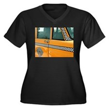 Checker Cab No. 3 Women's Plus Size V-Neck Dark T-