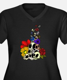 SkullsFlowers_Shaded Plus Size T-Shirt