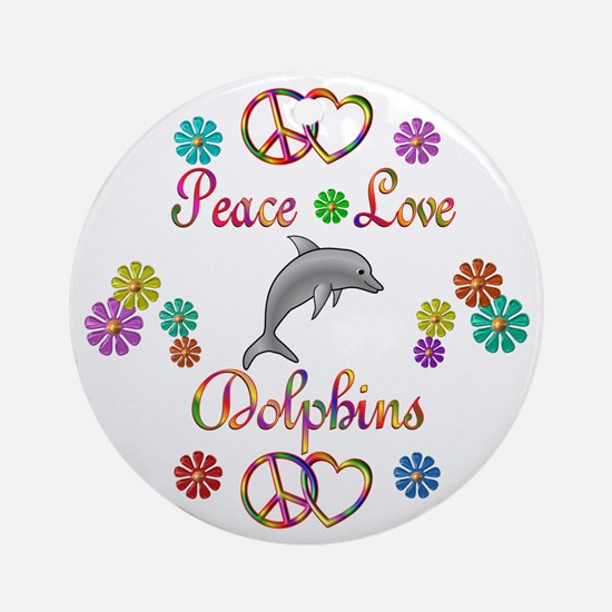 Peace Love Dolphins Ornament (Round)