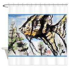 Angelfish, Asian art! Shower Curtain