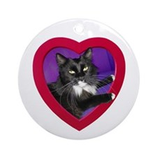 Cat in Heart Ornament (Round)