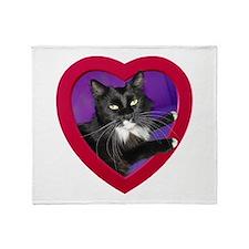Cat in Heart Throw Blanket
