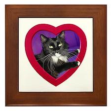 Cat in Heart Framed Tile