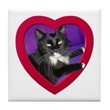 Cat in Heart Tile Coaster