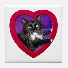 Cat in Heart Tile Coaster