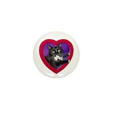Cat in Heart Mini Button (10 pack)