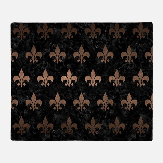 ROYAL1 BLACK MARBLE & BRONZE METAL ( Throw Blanket