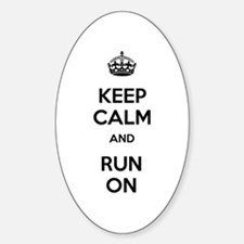 Keep Calm and Run On Sticker (Oval)