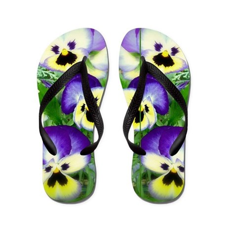 Pretty Pansy Faced Flip Flops
