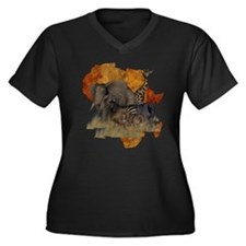 Safari Women's Plus Size V-Neck Dark T-Shirt