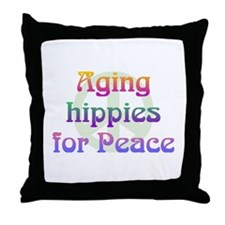 Aging Hippies for Peace Throw Pillow