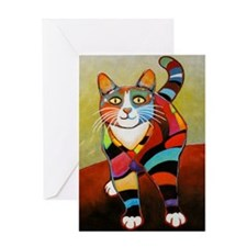 New Cat of Many Colors Greeting Card