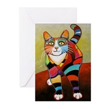 New Cat of Many Colors Greeting Cards (Pk of 10)