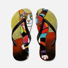 New Cat of Many Colors Flip Flops