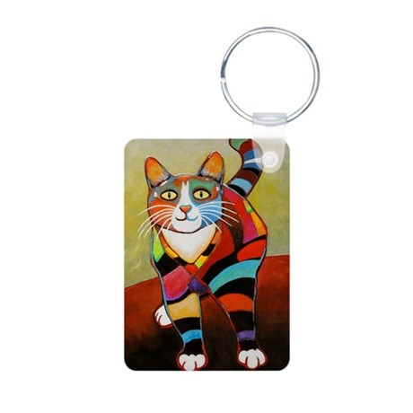 New Cat of Many Colors Aluminum Photo Keychain